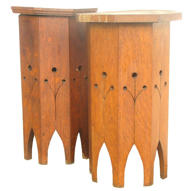 Wonderful boho chic Moroccan side tables with arched feet and pierced side details. Heavy solid wood; near pair with...