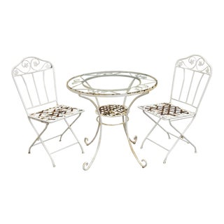 Mid 20th Century Salterini Style 3 Piece Wrought Iron Patio French Bistro Dining Set Table & Folding Chairs