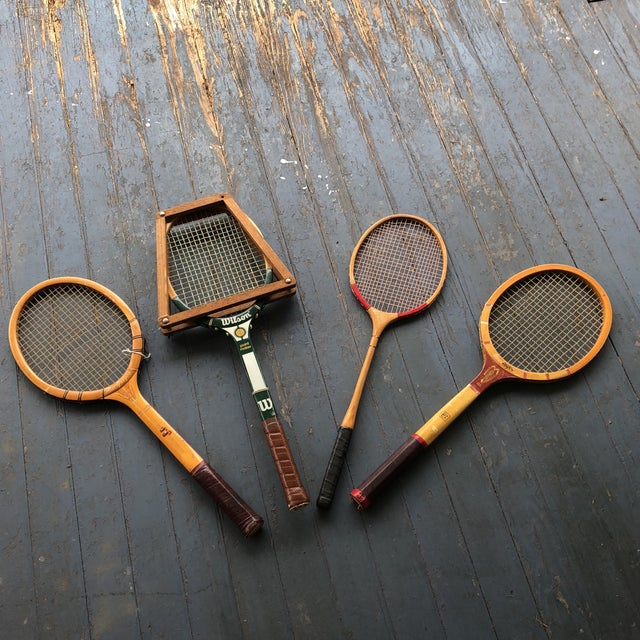 Collection of Antique Tennis Rackets - Set of 4 For Sale - Image 9 of 9