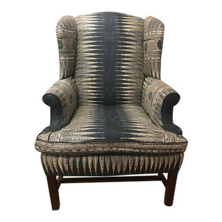 Traditional Style Paul Robert Chippendale Navy Blue Wingback Chair
