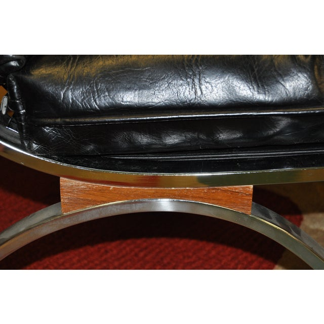 Barcelona Style Chrome & Leather Chairs - Pair - Image 6 of 8