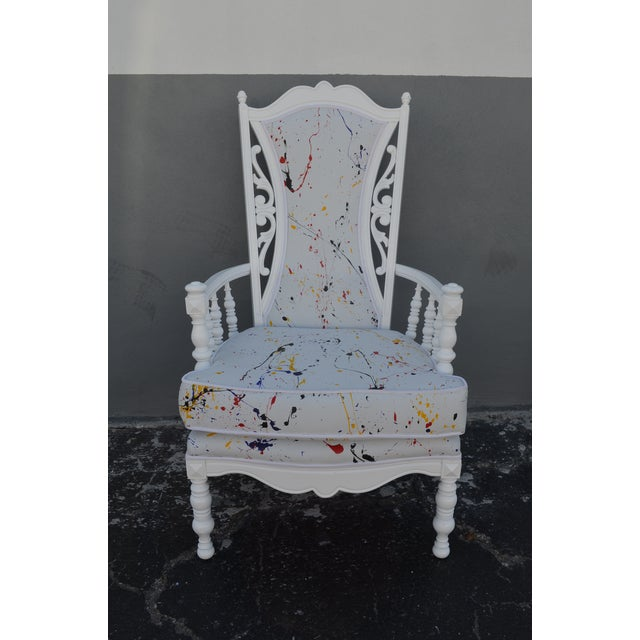 This is a Hollywood Regency style accent chair. Fun conversation piece and ode to Jackson Pollack, it features hand-...