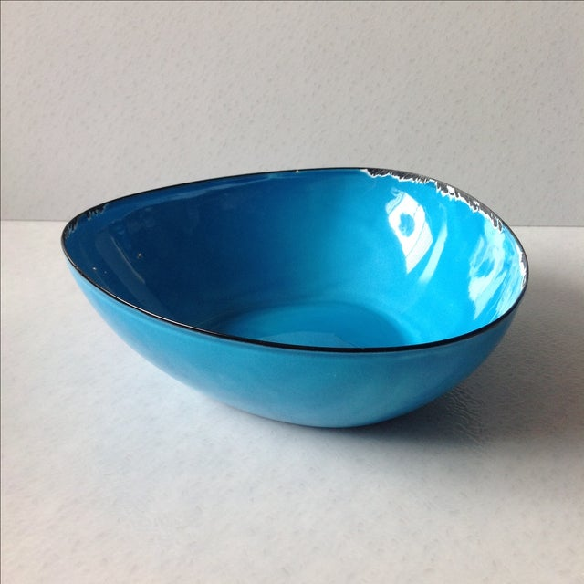 Mid-Century Modern Blue Enamel Metal Bowl - Image 3 of 11