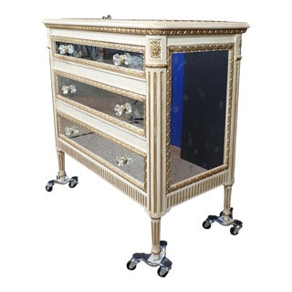 20th Century Louis XVI Style Mirrored Chest of Drawers For Sale