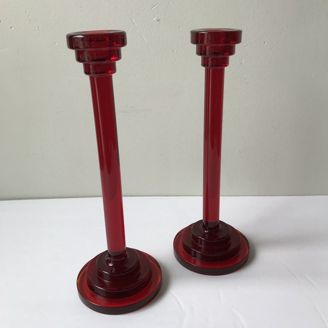 Red 1980s Red Glass Candleholders - a Pair For Sale - Image 8 of 8