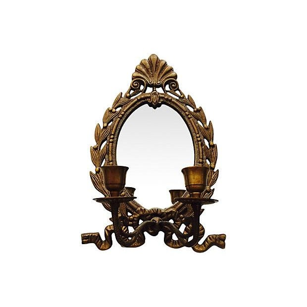 French Mirrored Candle Wall Sconce - Image 1 of 2