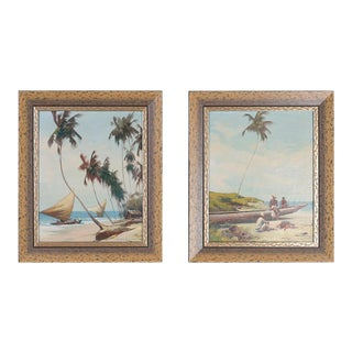 Two Tropical Oil Paintings on Canvas - A Pair For Sale