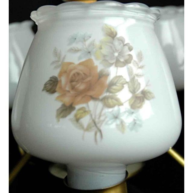 Cottage Floral Glass Shades Chandelier For Sale - Image 3 of 8