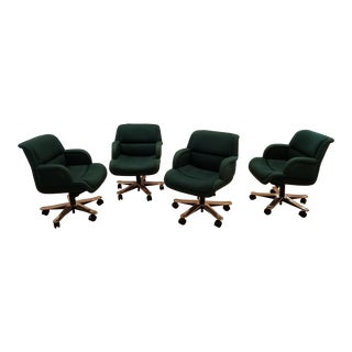 1980s Vintage Emerald Green and Brass Office Chairs- Set of 4 For Sale
