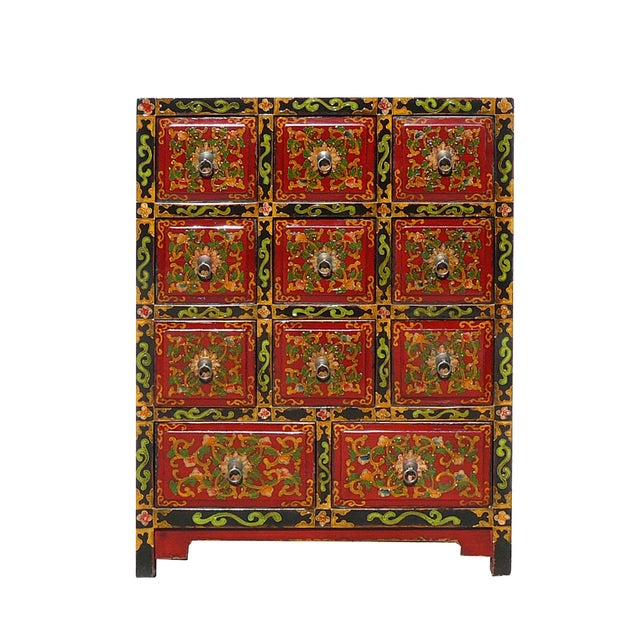 Oriental Tibetan Flower Graphic 11 Drawers Cabinet - Image 1 of 5