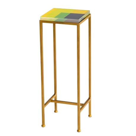 Contemporary Ellsworth Acrylic Drinks Table – Base: Gold, Top: Intersection Lime/Yellow/Midnight For Sale