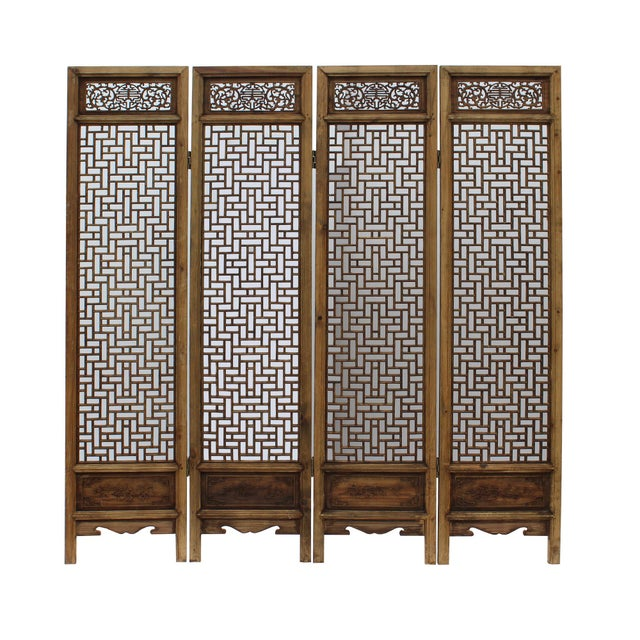 Chinese Vintage Finish Geometric Pattern Wood Panel Screen For Sale - Image 10 of 10