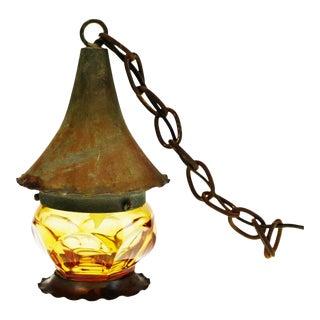 Vintage Amber Glass Swag Pendant Lantern Light For Sale