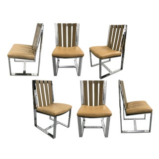 Flat Bar Chrome and Leather Milo Baughman Dining Chairs, 1970s - Set of 6 For Sale