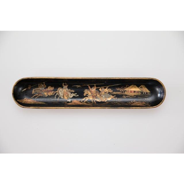 Paint Antique Chinoiserie Papier Mache Pen Tray For Sale - Image 7 of 7