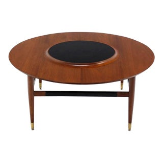 Round Walnut Coffee Table with Raised Black Laminate Lazy Susan Center