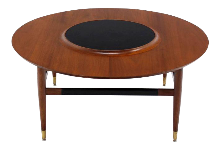 Round Walnut Coffee Table With Raised Black Laminate Lazy Susan Center    Image 1 Of 8
