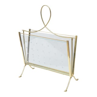 1940s Italian Brass Magazine Rack With Hand-Cut Starburst Glass Panels For Sale