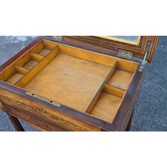 Antique English Regency Inlaid Rosewood 19th Century Sewing Work Table C1890 For Sale - Image 9 of 13