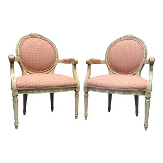 French Regency / Neoclassical Style Accent Chairs With Pink Upholstery - Pair For Sale