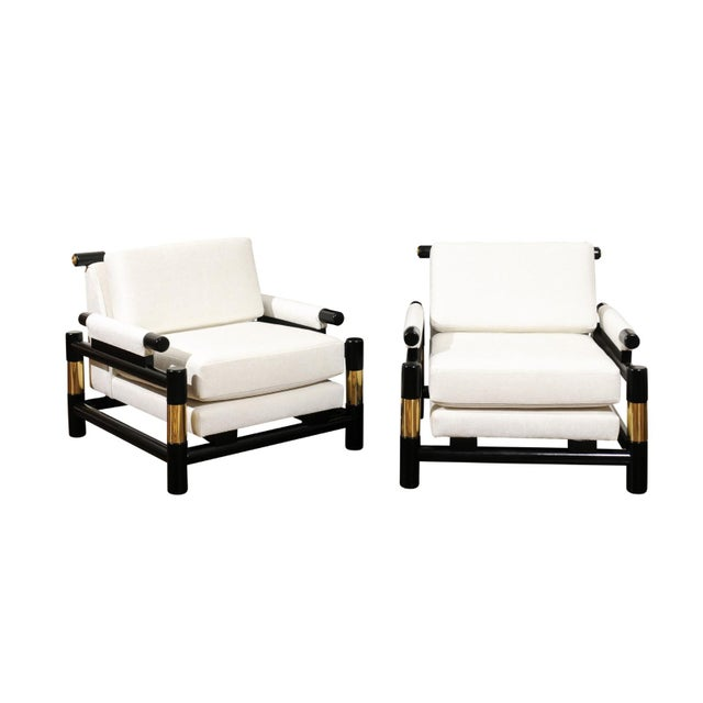 Breathtaking Pair of Modern Floating Pagoda Club Chairs by Baker, Circa 1980 For Sale - Image 13 of 13