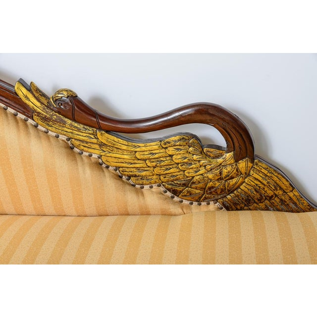French Hollywood Regency Hand Carved Swan Recamier or Meridienne For Sale - Image 3 of 10