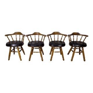 Set of 4 George B. Bent Solid Maple Windsor Swivel Chairs For Sale