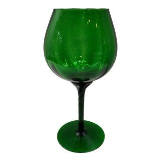 "Mid Century Italian Emerald Green Art Glass Vase Vintage Murano 12"" For Sale"
