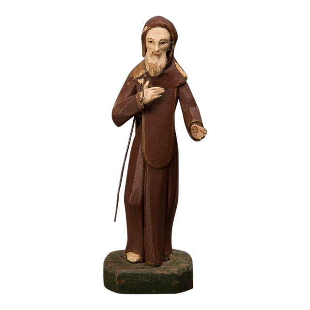 19th century Spanish Carved & Painted St. Francis of Assisi Statue For Sale