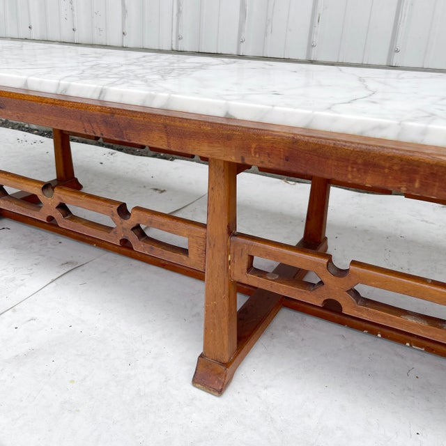 Long Mid-Century Marble Top Coffee Table For Sale - Image 9 of 13