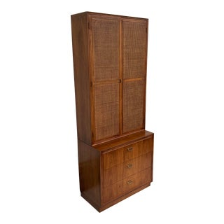 Mid-Century Cane Front Storage Cabinet From Founders For Sale