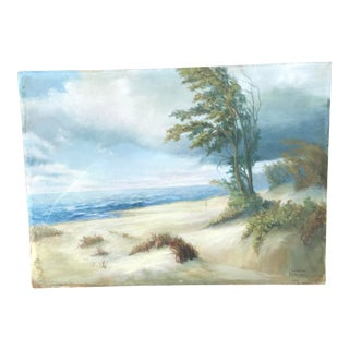 """Large 1939 Vintage Oil Painting Florence Hill """"'Storm on the Dunes"""" For Sale"""