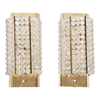 Lucite and Brass Sconces - A Pair For Sale