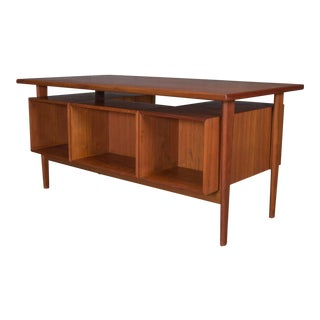 Danish Teak Desk With Floating Top by Kai Kristensen For Sale