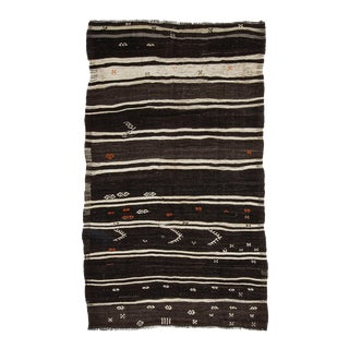 Mid 20th Century Brown & Off White Striped Kilim Rug For Sale