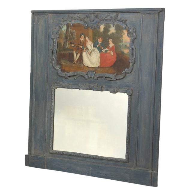 Early 20th Century Painted Trumeau Mirror For Sale