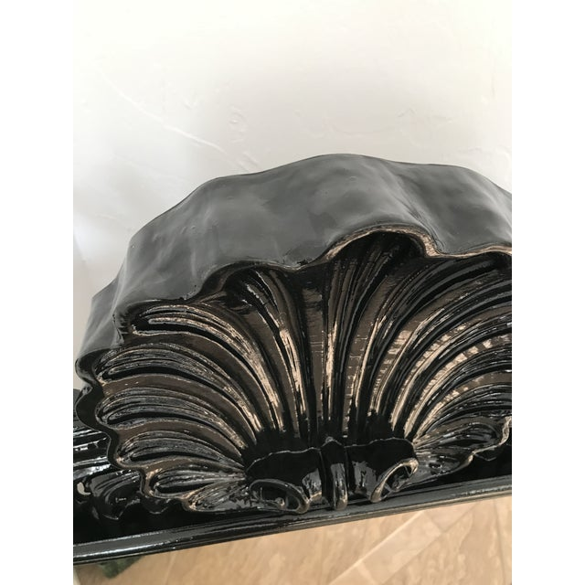 Coastal Regency Ornate Scalloped Shell Black Lacquered Mirror For Sale - Image 9 of 13