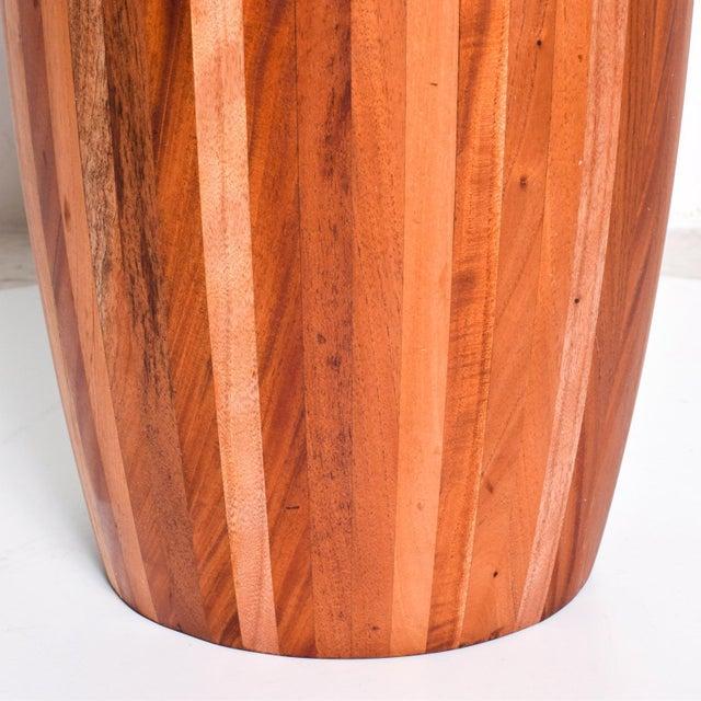 Mexican Modernist Cedar Wood Pedestal Center Table For Sale - Image 4 of 8