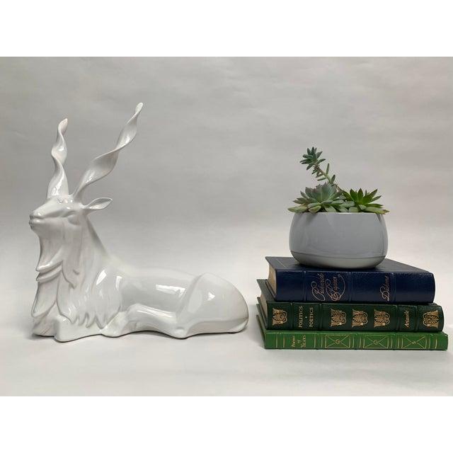 Ceramic FInal Markdown Italian Porcelain Oversized White Sitting Spiral Horned Antelope Figure For Sale - Image 7 of 11