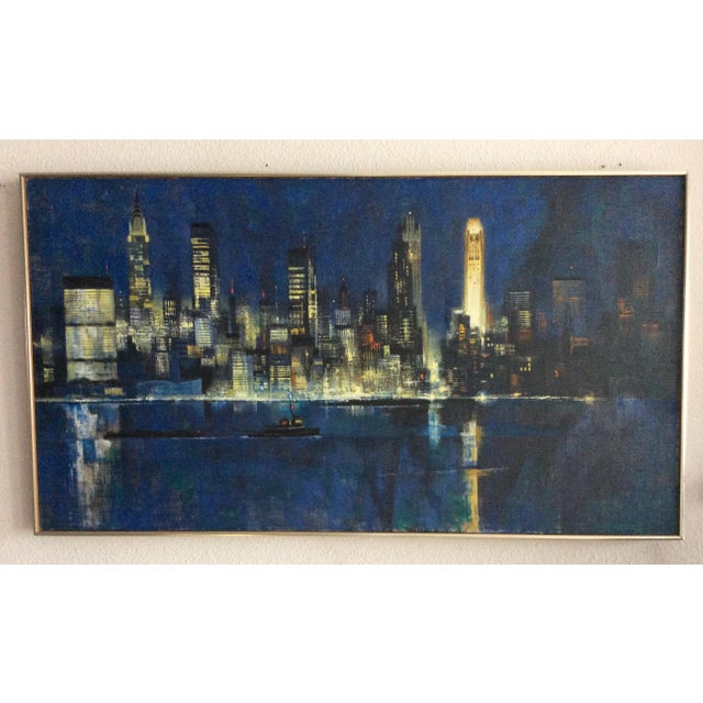 """Canvas Mid Century Modern ''New York Skyline"""" Oil on Canvas by Dean Ellis For Sale - Image 7 of 8"""