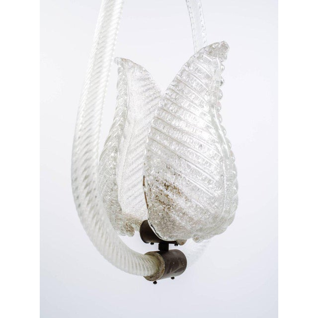 White Barovier and Toso Murano Glass Leaf Pendant Chandelier, 1940's For Sale - Image 8 of 13