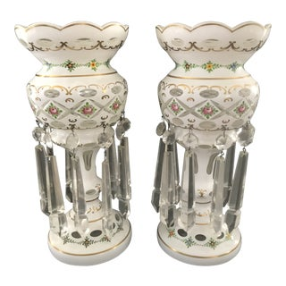 Late 19th Century Bohemian Glass Mantle Lustres - a Pair For Sale