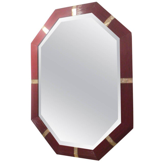 Octagonal Mother-of-Pearl Inlaid Lacquered Mirror For Sale In New York - Image 6 of 6