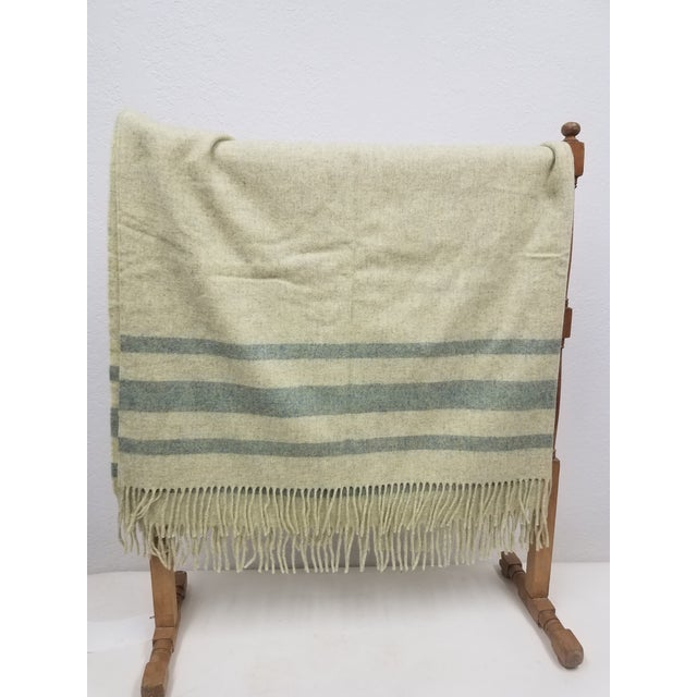 Merino Wool Throw Light Green With Darker Green Stripes - Made in England A versatile throw in a solid with stripes design...