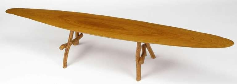 Adirondack Style Natural Wood Surf Board Coffee Table