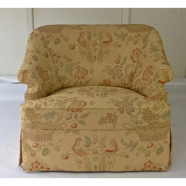 English Sofa, Manner of George Smith, Custom Upholstered in Bennison Linen For Sale In New York - Image 6 of 7