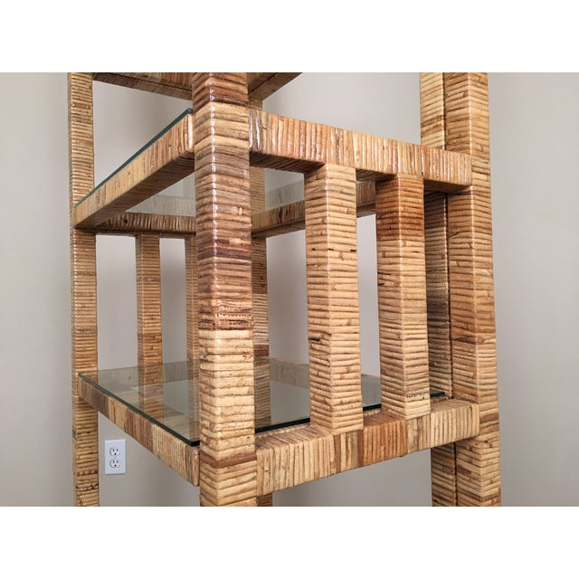 Billy Baldwin Style Lacquered Wrapped Rattan Etagere - Image 7 of 10