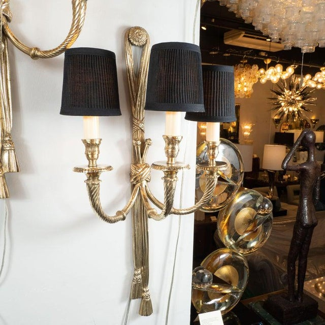 1950s Mid-Century Modern Neoclassical Silvered Bronze Sconces - a Pair For Sale - Image 5 of 9