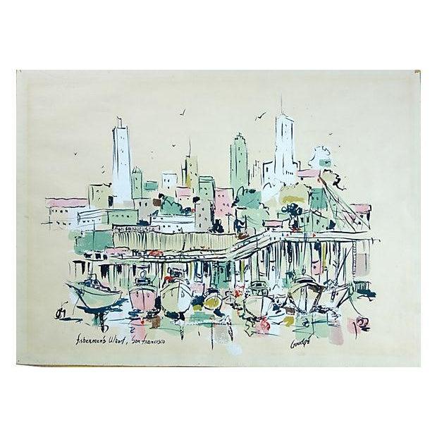 Watercolor of Fishermen's Wharf, San Francisco - Image 1 of 3