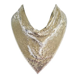Whiting & Davis Iconic Siver Mesh Necklace For Sale